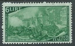 1948 ITALIA RISORGIMENTO 6 LIRE MH * - U1-2 - 1946-60: Nieuw/plakker
