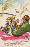 Illustrateur  P.Ordner  Couple En Voiture , Vitesse , Arbres , Oiseau    Photochrom  N°30313 - Humour
