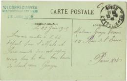 ERREUR Sur CPA DINAN Vers PARIS En 1915 Oblitération Bleue Hôpital Temporaire N° 8 DINAN 10e Corps D'Armée 23 Juin 1905 - Guerre De 1914-18