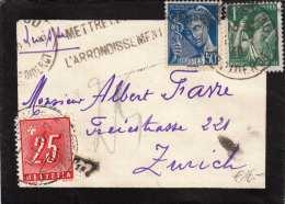SCHWEIZ NACHPORTO 1940 - 25 C (Ank58) Nachporto + 50 C + 1 F Auf Kleinen Trauerbrief Gel.v.Frankreich > Zürich