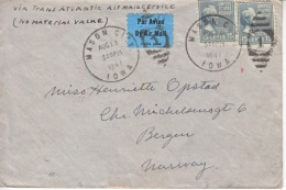 U.S. POSTAL  HISTORY PREXIE  COVER CENSORED OCCUP. NORWAY - United States