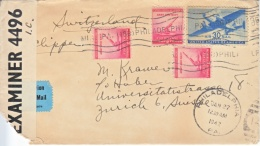 U.S.  CLIPPER COVER  SWITZERLAND  WITH  LETTER  1942 - United States