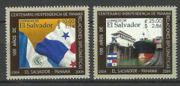 EL SALVADOR  2004  DIPLOMATIC RELATIONS WITH PANAMA,FLAG,SHIP SET  MNH - El Salvador