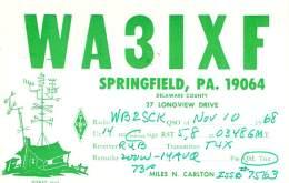 Amateur Radio QSL Card - WA3IXF - Springfield, PA USA - 1968 - 2 Scans - STAMPED - Radio Amateur