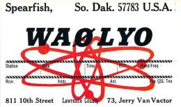 Amateur Radio QSL Card - WA0LYO - Spearfish, SD USA - 1969 - 2 Scans - Radio Amateur