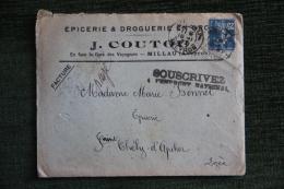 Enveloppe Timbrée Publicitaire  Avec Factures  - MILLAU, Epicerie Et Droguerie ,J.COUTOU En Face De La Gare - Lettres & Documents
