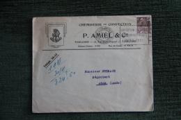 Enveloppe Timbrée Publicitaire  Avec Factures  - TOULOUSE , Chemiserie Et Confection P.AMIEL - Lettres & Documents