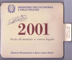 ITALIA - ANNO 2001 - SERIE DI MONETE A CORSO LEGALE - DIVISIONALE LIRA 2001 - 12 VALORI - IN CONFEZIONE ORIGINALE - - Monete