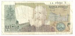 Italy 2000 Lire Galileo - Mancata Passata Di Colore - Color Error - [ 2] 1946-… : Républic