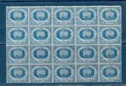 "1894/99 "" Cifra "" N° 30 BLOCCO DA 20 / ** MNH - Nuovi"