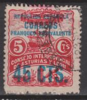 1937 ASTURIAS FRANQUEO OBLIGATORIO 45 CTS. USADO. 12,5 €. VER - Asturias & Leon