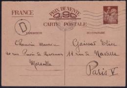 Carte Postale Interzones 90 C Iris 1er Modèle Omec Marseille Gare Le 3.2.1941 + Grande Lettre D Dans Cercle - Poststempel (Briefe)