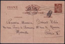 Carte Postale Interzones 90 C Iris 1er Modèle Omec Marseille Gare Le 26.4.1941 + Grande Lettre 8 Dans Cercle - Poststempel (Briefe)