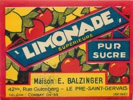 ETIQUETTE LIMONADE . MAISON E. BALZINGER . LE PRE SAINT GERVAIS . - Soda