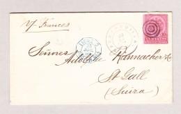 Kolumbien  Barranquilla 22.7.1894 Brief Mit 10C Braun Und Rosa Nach St Gallen Mit Franz Stempel Ligne D Paqueb. N1 - Colombie