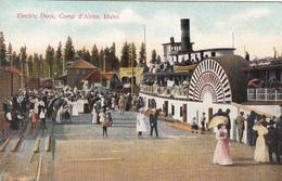 Coeur D'Alene Idaho USA - Electric Dock - Steamer Boat - Bateau Vapeur - Animated - Vintage - 2 Scans - Coeur D'Alene
