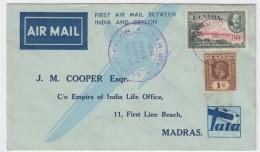 Ceylon - First Flight India-Ceylon 1936 - Ceylan (...-1947)