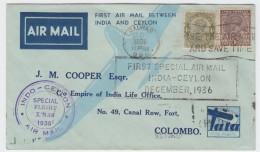 India - First Flight India-Ceylon 1936 - Poste Aérienne