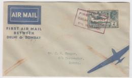 India - First Flight Delhi-Bombay 1937 - Poste Aérienne