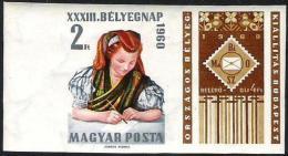 Ungarn 1960: Michel-Nr. 1710 B (ungezähnt) Mezököveszder Tracht ** MNH (Michel € 12.00) - Kostüme