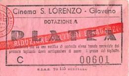 "04662 ""GIAVENO (TO) - BIGLIETTO D´INGRESSO - PLATEA - CINEMA S. LORENZO - N° C 00601""  DOCUM. ORIGIN. - Biglietti D'ingresso"