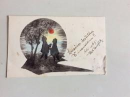 AK  SILHOUETTE Liebhaber Im Mondlicht ,ANSICHTSKARTEN 1937 - Scherenschnitt - Silhouette
