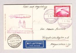 DR LZ 127 7.6.1931 Luftschiff Graf Zeppelin Fahrt Nach Magdebuirg AK Blick Passagier-Kabine Von Besatzungsmitglied Gesci - Airmail