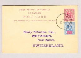 GB SARAWAK 20.9.1902 Ganzsache 3C Und 1C Zusatzfrankatur Als Sammlerkarte Nach Wetzikon - Sarawak (...-1963)