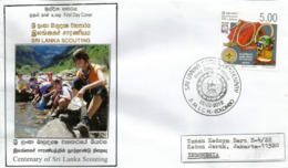 Centenary Of Sri Lanka Scouting 2012, Lettre FDC Sri Lanka Adressée Indonésie - Covers & Documents