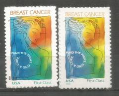 Breast Cancer. Le Cancer Du Sein, Fond D'aide à La Recherche, 2 Timbres Neufs ** Semi-postal, Années 1998 & 2014 - United States