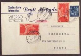 ESPRESSI L.25 Due Pezzi + L.5  VITERBO 1950 CARTOLINA  Studio Arte Fotografica Di BRUTI SECONDO  CON FIRMA AUTOGRAFA - 1946-60: Marcofilia