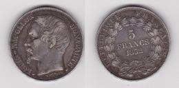 5 FRANCS LOUIS NAPOLEON BONAPARTE 1852 A Tête LARGE En Argent TTB (voir Scan) - J. 5 Francs