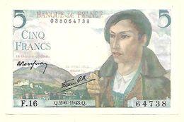 France - 5 Francs Berger 2 6 1943 Alphabet F 16 N° 64738 1 Billet Splendide - 1871-1952 Anciens Francs Circulés Au XXème