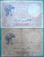France - 5 Francs Violet 1933 - 1939 Lot 2 Billets - 5 F 1917-1940 ''Violet''