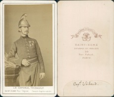 Caporal Thibault, Sapeur Pompier Vintage CDV Albumen Carte De Visite, Le 9 Août 1868, Le Caporal Thibault Fait Par - Photos