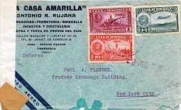VENEZUELA 1946? - 3 Fach Frankierung Auf Zensurierten Firmen-LP-Brief,  Gel.v Venezuela > New York - Venezuela