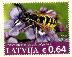Latvia Lettland - England - UK2015 Postcard - Flowers And - Wasp -  Insect- Honey Eater MNH - Bienen
