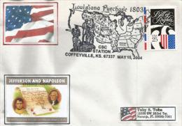 Napoleon & Jefferson.Vente De La Louisiane Aux Etats-Unis En 1803, Bicentenaire, Oblitération Spéciale De Coffeyville - Enveloppes évenementielles
