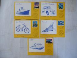 TRANSPORT XXème Siècle FDC Carte 1er Jour - LOT 5 CARTES TGV, Mobylette, Le France, Concorde, 2CV - Scans Recto Verso - Cartes Postales