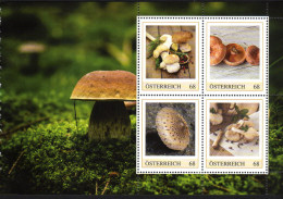 ÖSTERREICH 2016 ** Speisepilze / Steinpilz, Edel-Reizker, Parasol, Austerling - PM Personalized Stamps MNH - Ernährung