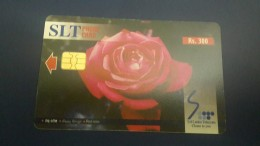 Sri Lanka-(sri10)-red Rose-flowers-(rs.300)-used Card+1card Prepiad - Sri Lanka (Ceylon)
