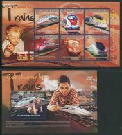 Guinea, Republic 2014 Collecting Trains 2 S/s, (Mint NH), Transport - Railways - Various - Toys & Children's Games - Guinea (1958-...)