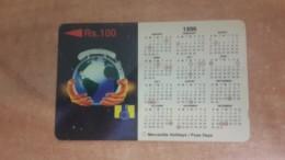 Sri Lanka-(19srla)-calendar 1996-(rs.100)-used Card+1card Prepuad Free - Sri Lanka (Ceylon)