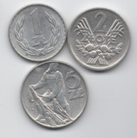 Pologne : Série De 3 Pièces En Aluminium 1-2-5 Zlote 1974-1975 - Polonia