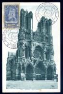 Carte Maximum Reims La Cathédrale Cachet Salon Du Prisonnier 22 Mai 1944  Cm1 - 1940-49
