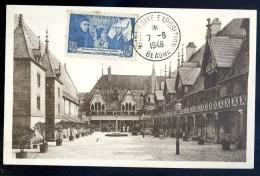 Carte Maximum Beaune Cour Honneur Cachet Foire Exposition 48 -- Timbre Fondateurs Nicolas Rotin Et Guigone De Salins Cm1 - 1940-49