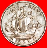 § SHIP: UNITED KINGDOM★ HALF PENNY 1955! LOW START★ NO RESERVE! - C. 1/2 Penny