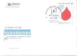 MAS SANGRE MAS VIDA - DIA MUNDIAL DEL DONANTE DE SANGRE - SANGUE BLOOD FDC ARGENTINE AÑO 2011 SOBRE