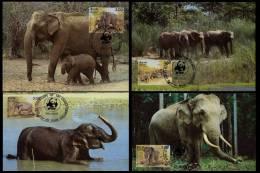 WWF W.W.F. 1986 Sri Lanka Asian Elephant MC Set X4 Fauna - Cartoline Maximum