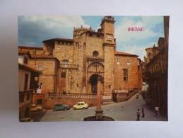 SPAIN ESPAÑA ESPANA ESPAGNE GALICIA ORENSE CATHEDRAL CATHEDRALE & CLASSIC CAR CARS AUTOMOBILES 1960 YEARS POSTCARD - Orense